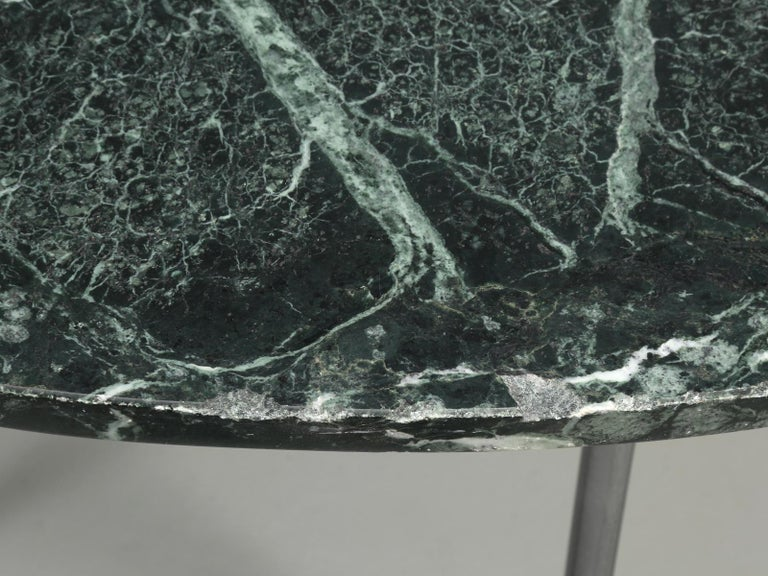 Round Marble Dining Table with a Steel Base for Indoor or Outdoor Use For Sale 2