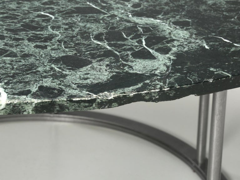 Round Marble Dining Table with a Steel Base for Indoor or Outdoor Use For Sale 3