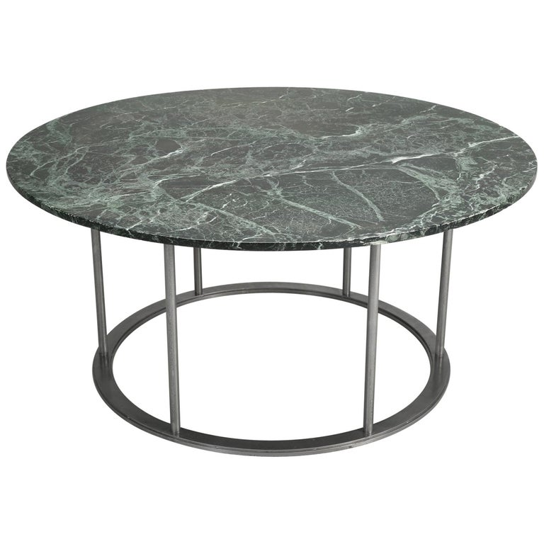 Round Marble Dining Table with a Steel Base for Indoor or Outdoor Use For Sale