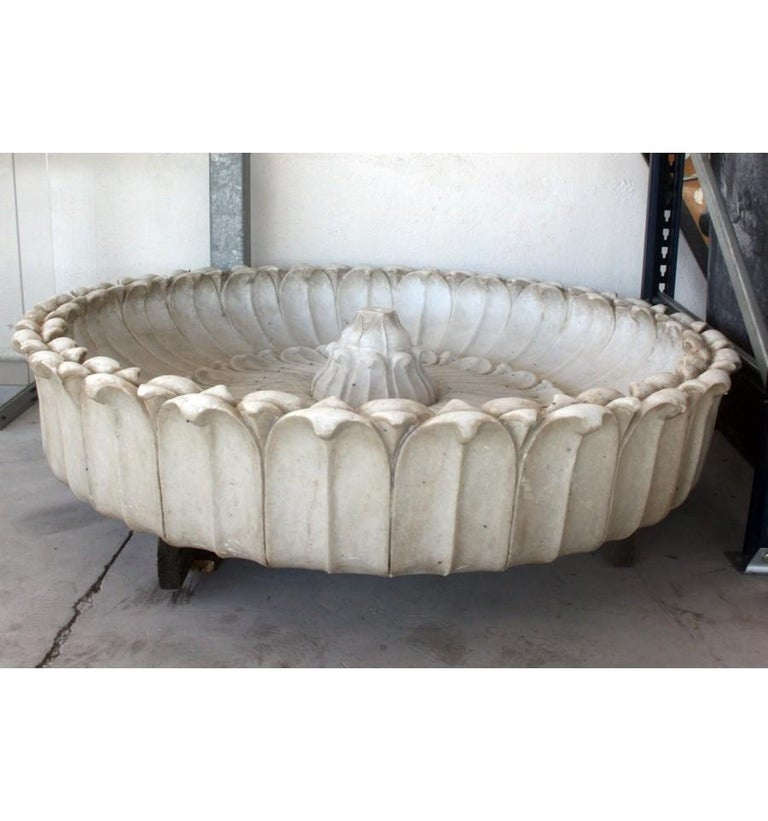 Italian Round Marble Hand-Carved One Piece Floor Fountain For Sale