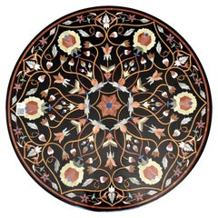 Round Marble Table Top with Hard Stones Mosaic Inlay