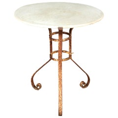Round Marble-Top and Iron Garden Table from Late 19th Century France