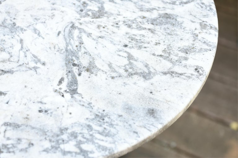 Painted Round Marble-Top Bistro Table For Sale