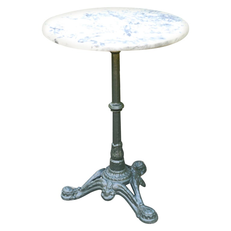 Round Marble-Top Bistro Table For Sale