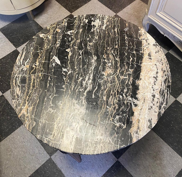 Round Marble-Top End Table For Sale 1