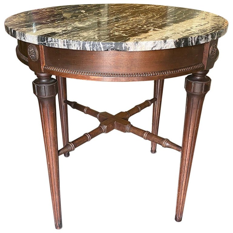 Round Marble-Top End Table For Sale