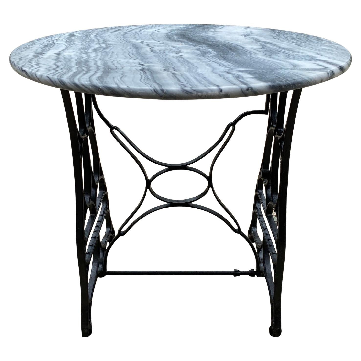 Round Marble Top Garden Dining Table