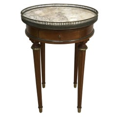 Round Marble-Top Louis XVI Bouillotte Side Table