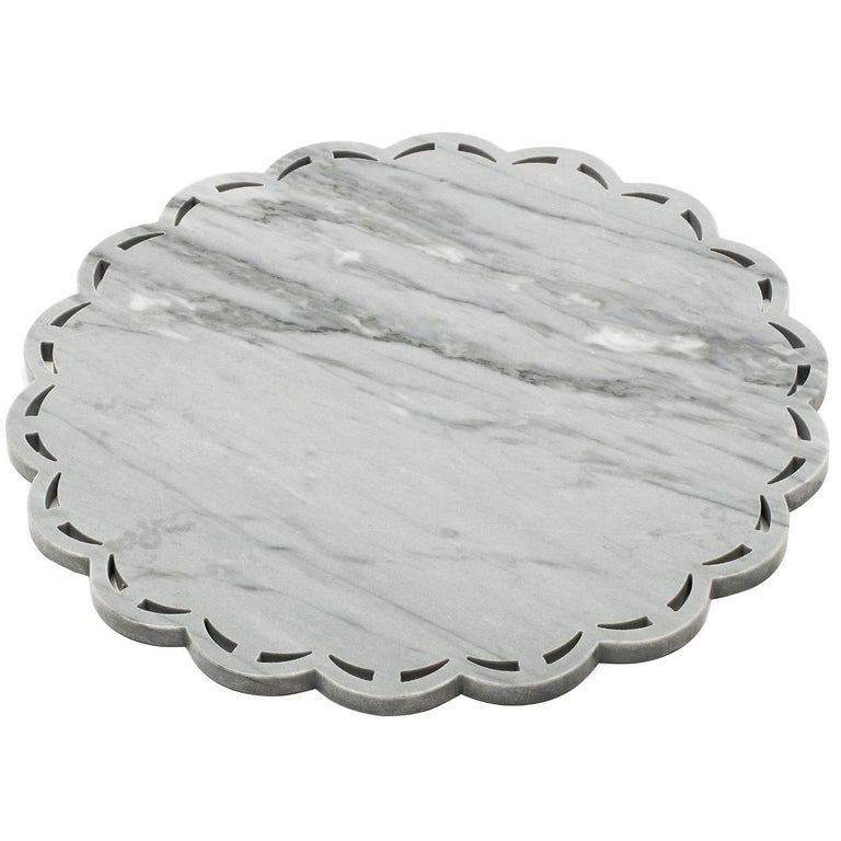 Round Marble Tray or Plate with Lace Edge For Sale