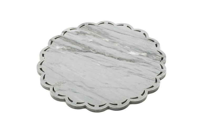 Contemporary Round Marble Tray or Plate with Lace Edge For Sale