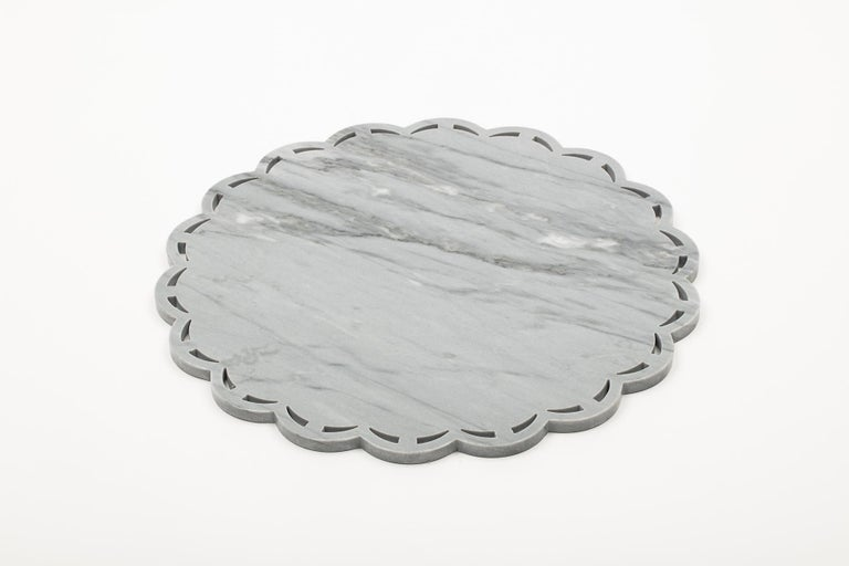Round Marble Tray or Plate with Lace Edge For Sale 2