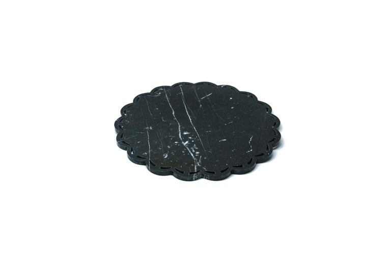 Italian Round Marble Tray or Plate with Lace Edge For Sale