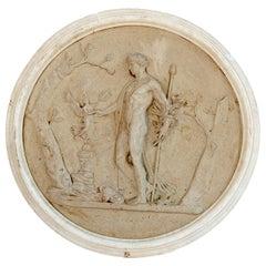 Round Medallion Synthetic Plaster Panel of a Greek Mythological God and Goddess