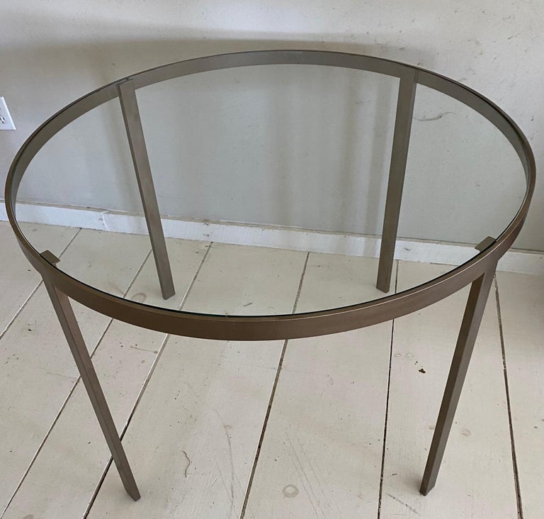 Mid-Century Modern Round Metal and Glass Top Dining or Conference Table For Sale