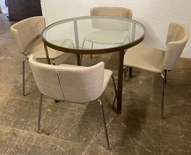 Round Metal and Glass Top Dining or Conference Table In Good Condition For Sale In Great Barrington, MA