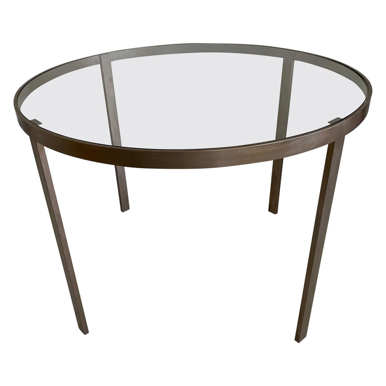 Round Metal and Glass Top Dining or Conference Table