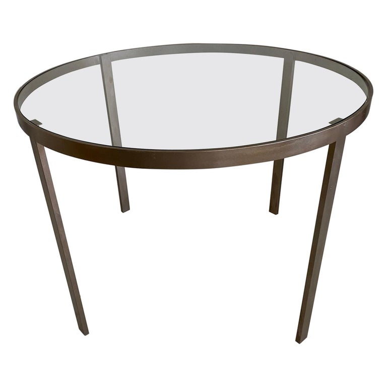 Round Metal and Glass Top Dining or Conference Table For Sale
