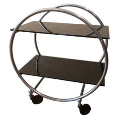 Round Metal Bar Cart from the 1950s
