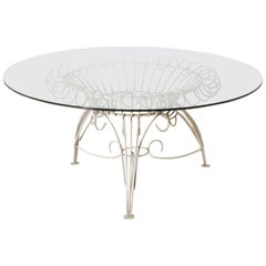 Round Metal Dining Table with Clear Glass Top, circa 1950