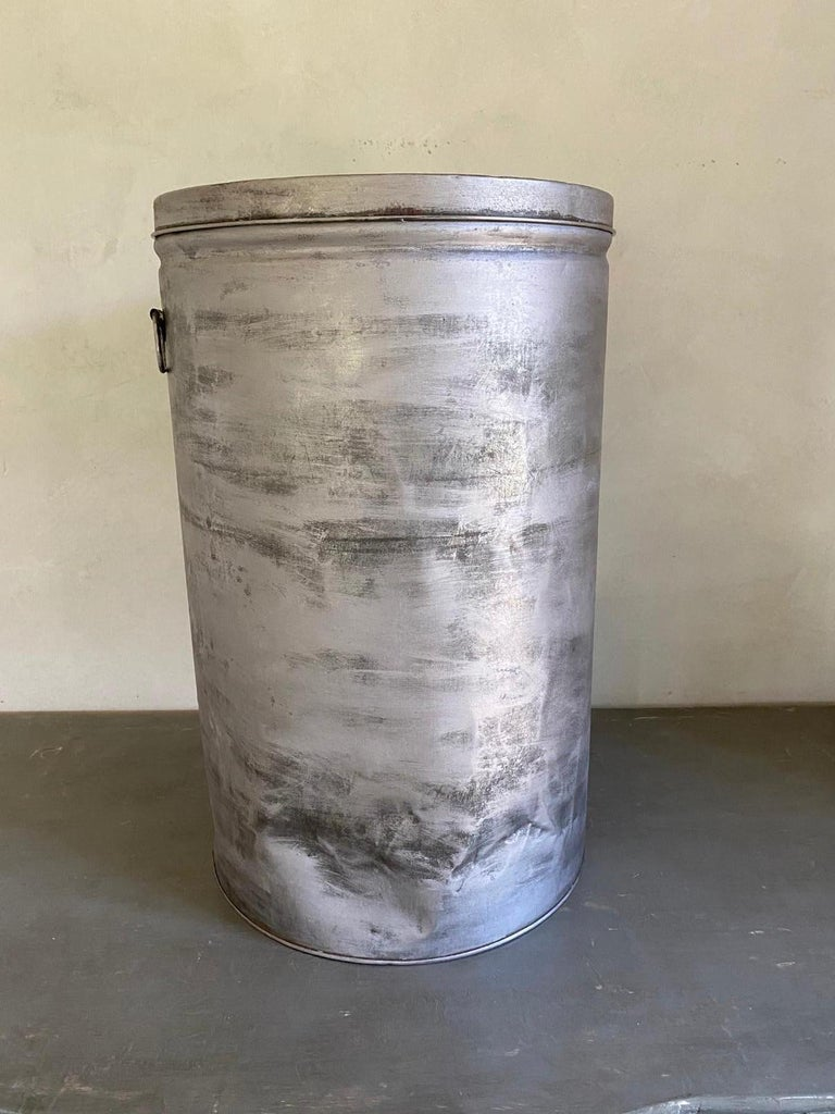 Rustic Round Metal Grain Container or Storage Vessel For Sale