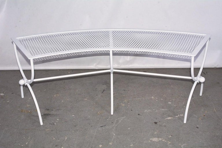 Round Metal Patio Table and Two Matching Benches by Woodard In Good Condition For Sale In Great Barrington, MA