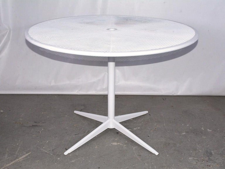 Round Metal Patio Table and Two Matching Benches by Woodard For Sale 1