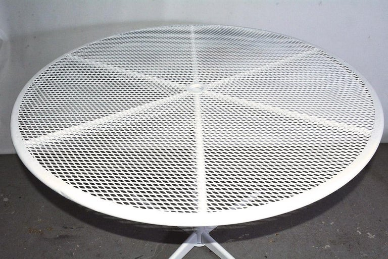Round Metal Patio Table and Two Matching Benches by Woodard For Sale 2