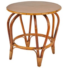Round Mid Century Bamboo and Rattan Side or Coffee Table with Laminated Top