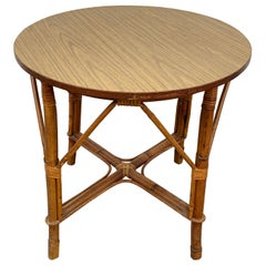 Round Midcentury Bamboo Rattan Side or Coffee Table with Laminated Top, Italy