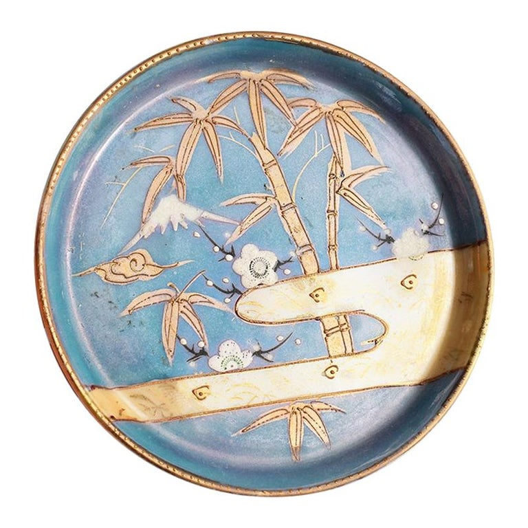 Round Midcentury Ceramic Decorative Vide-Poche Dish or Wine Bottle Tray Japan For Sale