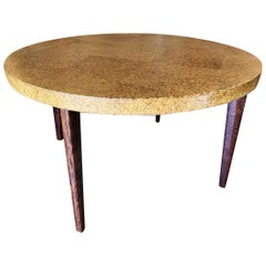 Round Midcentury Cork Top Dining Table with Knife Legs by Paul Frankl