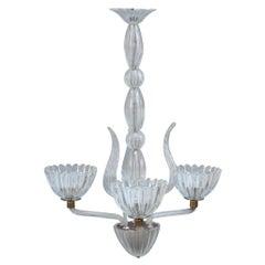 Round Midcentury Italian Chandelier Murano Glass Brass Parts 1950s Barovier