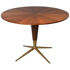 Round Midcentury Italian Table with Brass Feet