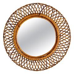 Round Mid Century Mirror with Woven Rattan Frame