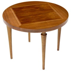 Round Mid-Century Modern End Table with Wood Inlay Top
