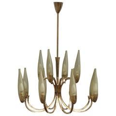 Round Mid-Century Modern Italian Chandelier Brass Green Glass, 1950