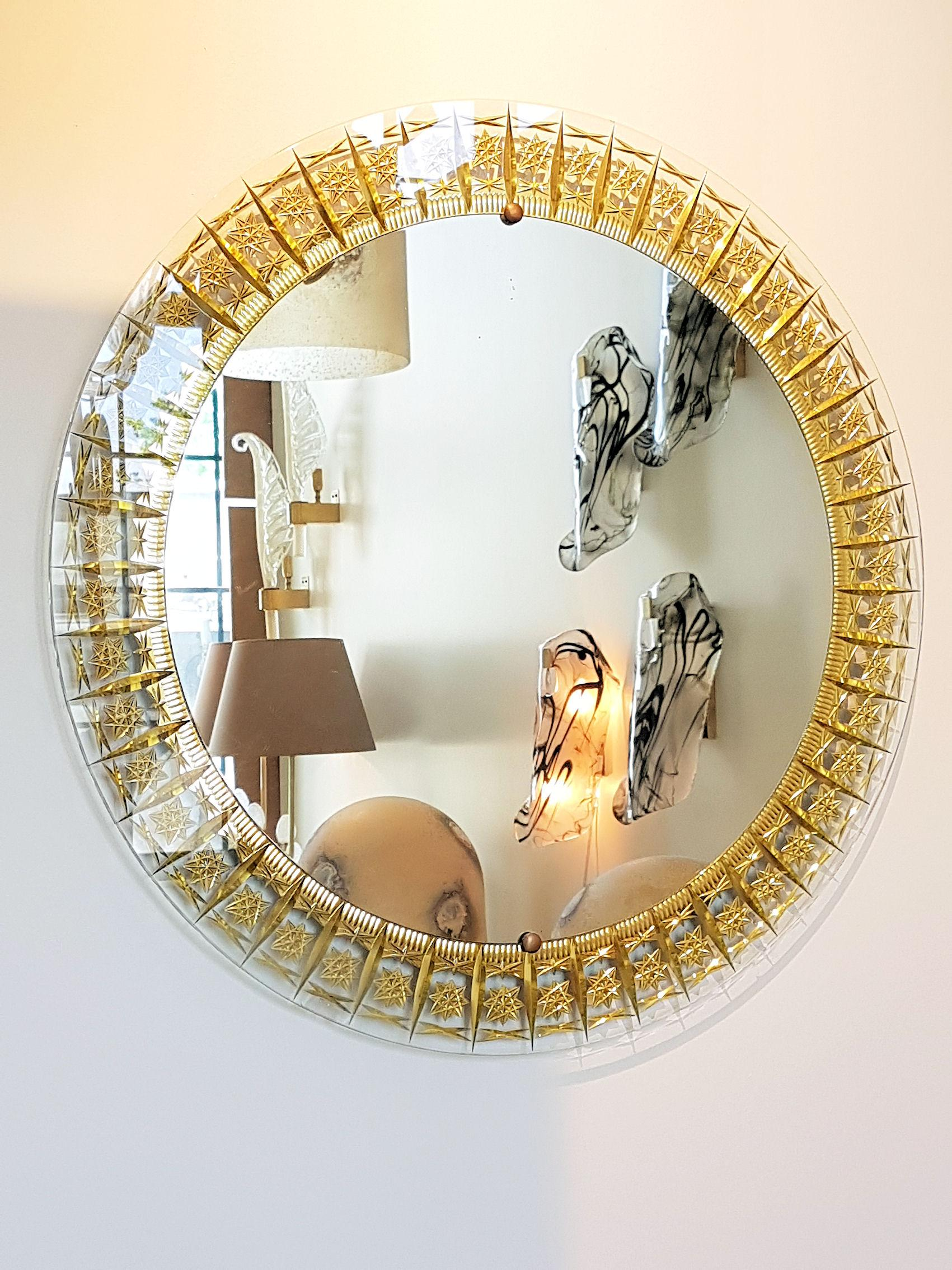 Round Mid Century Modern Mirror Glass Gold Carved Frame By Cristal Arte Italy