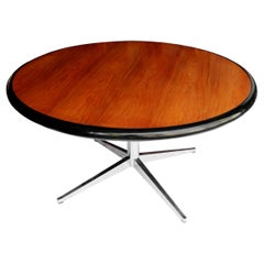 Round Mid-Century Modern Teak & Chrome Dining Table by Florence Knoll