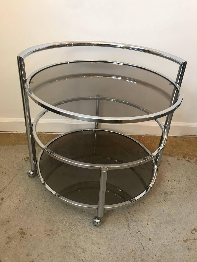 Round Mid Century Two Tier Expandable Chrome And Smoke Glass Side Or