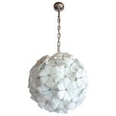 Round Mid-Century Modern White Murano Glass Flower Chandelier Cenedese Style