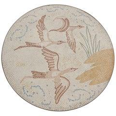 Round Midcentury Mosaic Coffee Table by Berthold-Mueller Oerlinghausen, Birds