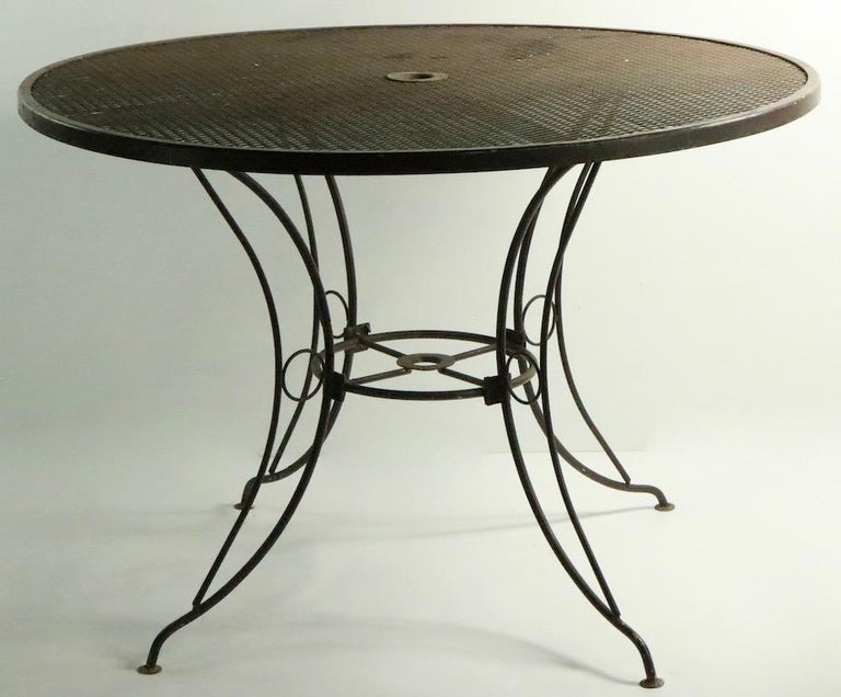 Mid-Century Modern Round Mid Century Patio Garden Table Attributed to Woodard For Sale