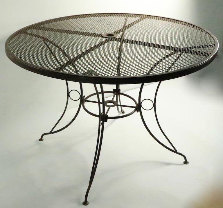 20th Century Round Mid Century Patio Garden Table Attributed to Woodard For Sale