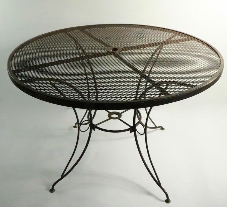 Wrought Iron Round Mid Century Patio Garden Table Attributed to Woodard For Sale