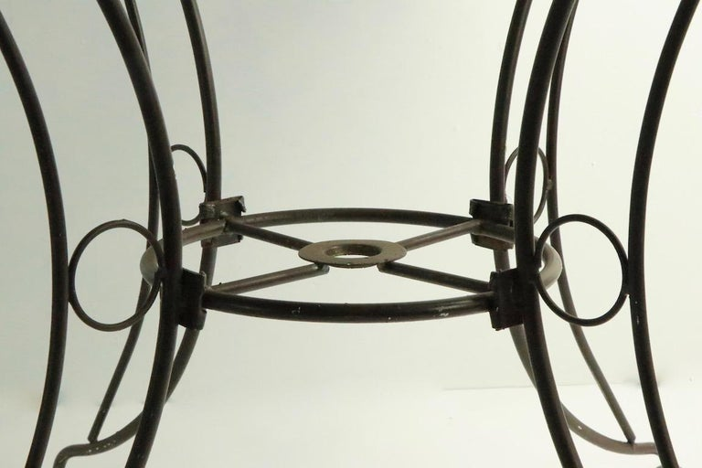 Round Mid Century Patio Garden Table Attributed to Woodard For Sale 2