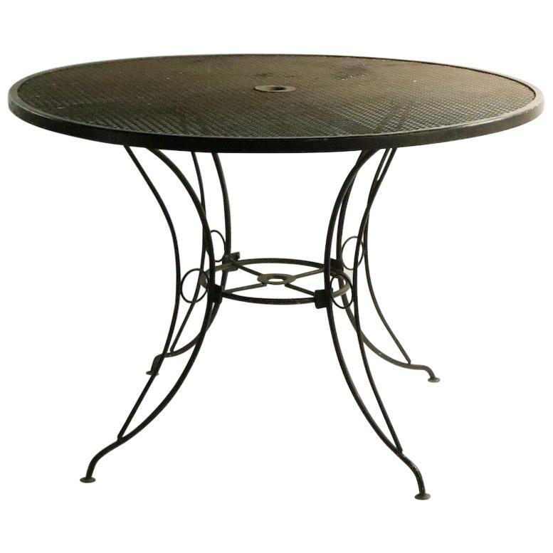 Round Mid Century Patio Garden Table Attributed to Woodard