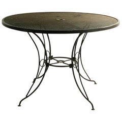 Round Mid Century Patio Garden Table Attributed to Woodard