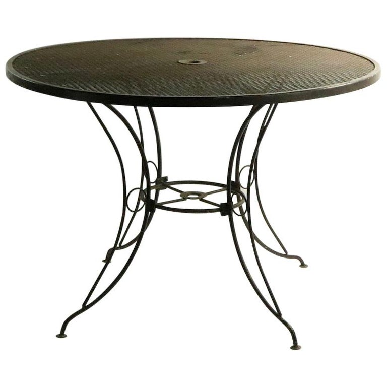 Round Mid Century Patio Garden Table Attributed to Woodard For Sale