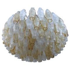 Round Midcentury Poliedro Venini Yellow Transparent Murano Glass Italian