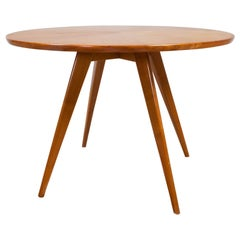 Round Midcentury Side Table in Birch Circular Inlay, Wilhelm Renz Germany 1960s
